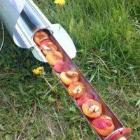 Zapečené meruňky a jahody s javorovým sirupem, skořicí a ořechy v GoSun slunečním vařiči